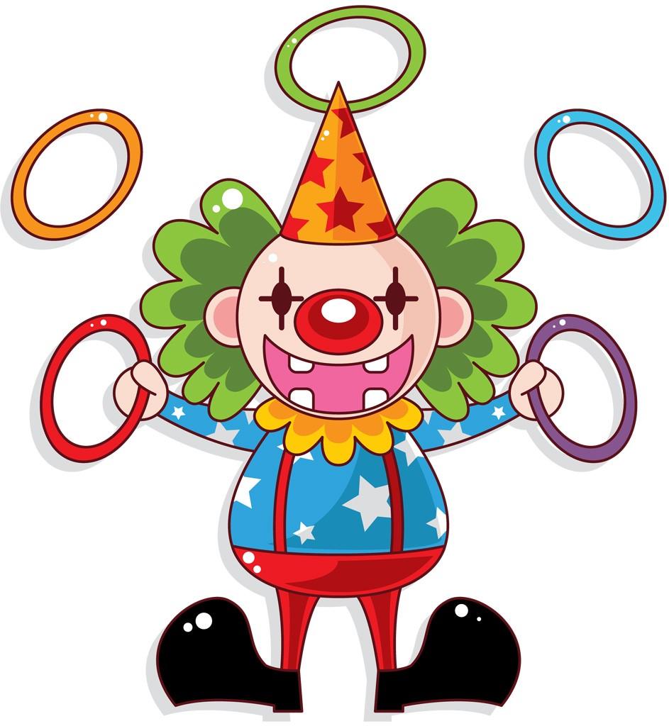 Клоун с кольцами картинка для детей
